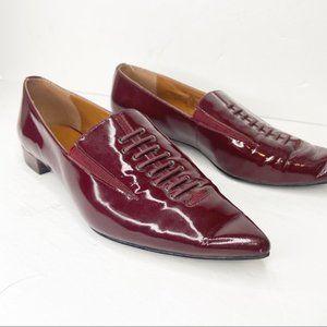 "Halston ""Ronda"" burgundy patent pointed toe flats"